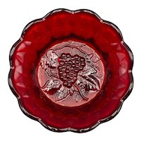 Fenton Ruby Red Candy Bowl Dish Grapes Scalloped Diamond