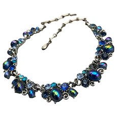 Lisner Oil Slick Cabochon Choker Necklace in Blue Tones