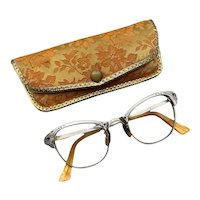 1950s Gold Filled and Etched Aluminum Cats Eye Eyeglasses with Case
