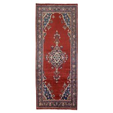 Vintage Persian Malayer Rug, 4'x11', Hand-Knotted