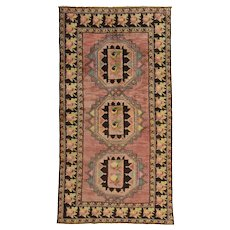 Vintage Caucasian Rug, 4'x8', Pink/Brown, Hand-Knotted