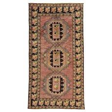 Vintage Caucasian Rug, 4'x8', Pink/Brown, All wool pile