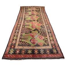 Vintage Caucasian Rug, 5'x10', Brown/Brown, All wool pile