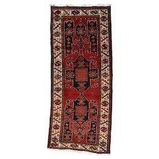 Vintage Persian Meshkin Rug, 4'1''x9'7'', Red/Ivory, All wool pile