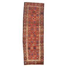 Persian Meshkin Runner, 4' x 10', Red/Brown, Hand-Knotted Wool Pile