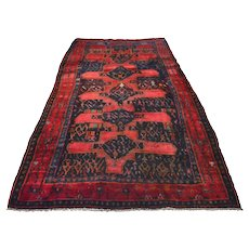 Vintage Persian Koliai Rug, 5'2''x9'4'', Blue/Red, All wool pile