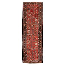 Persian Hamadan Runner, 3' x 10', Red/Brown, Hand-Knotted Wool Pile