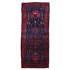 Vintage Persian Koliai Rug, 5'x11'', Black/Red, All wool pile