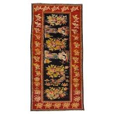 Vintage Caucasian Rug, 4'x8', Black/Red, All wool pile