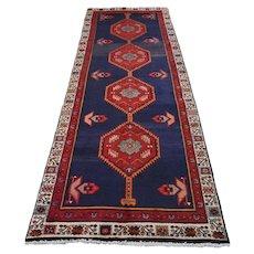 Vintage Persian Hamadan Rug, 3'x9', Blue/Ivory, All wool pile