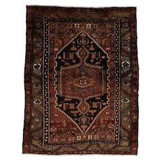 Vintage Persian Hamadan Rug, 4'x6', Black/Grey, All wool pile