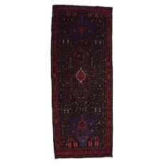 Vintage Persian Koliai Rug, 5'x13', Black/Red, All wool pile