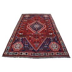 Vintage Persian Shiraz Rug, 6'x9', Red/Ivory, All wool pile