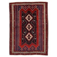 Vintage Persian Afshar Rug, 4'7''x6'4'', Red/Ivory, All wool pile