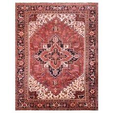 Vintage Persian Heriz Rug, 8' x 10'6'', Red/Black, All wool pile