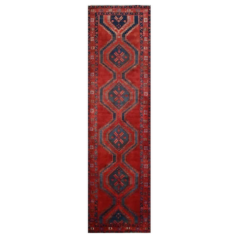 Vintage Persian Hamadan Runner, 3'x12', Red/Red, All wool pile