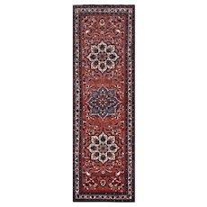 Vintage Persian Karajeh Runner, 3'x11', Red/Ivory, All wool pile