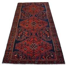 Vintage Persian Hamadan Rug, 4'x7', Blue/Burgundy, All wool pile