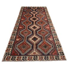 Vinage Persian Hamadan Rug, 5'x10', Red/Ivory, All wool pile