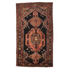 Vintage Persian Hamadan Rug, 4' x 8', Black/Blue, All wool pile