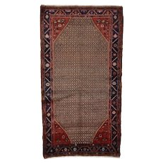 Vintage Persian Koliai Rug, 5'x9', Brown/Blue, All wool pile