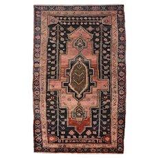 Vintage Persian Hamadan Rug, 5' x 7', Black/Blue, All wool pile