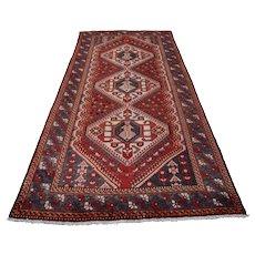 Vintage Persian Bakhtiari Rug, 5'x10', Red/Blue, All wool pile