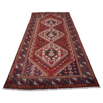 Vintage Persian Bakhtiari Rug, 5'x10', Red/Blue, All wool pile