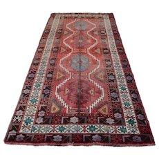 Vintage Persian Hamadan Rug, 5'x10', Red/Ivory, All wool pile