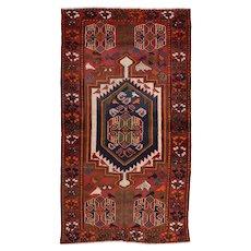Vintage Persian Luri Rug, 4'x7', Red, All wool pile