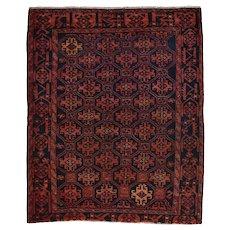 Vintage Persian Luri rug, 5'x6', Blue, All wool pile