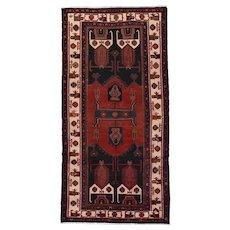 Vintage Persian Koliai Rug, 5'x10', Black/Ivory, All wool pile