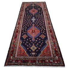 Vintage Persian Hamadan Runner, 4'x10', Blue/Red, All wool pile