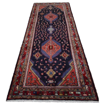 Vintage Persian Hamadan Runner, 4'x10', Blue/Red, All wool pile