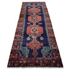 Vintage Persian Hamadan Runner, 4'x10', Blue, All wool pile