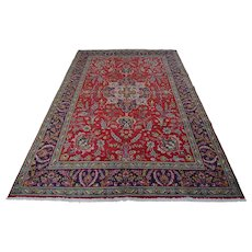 Vintage Persian Tabriz Rug, 7'x10', Red/Blue, All wool pile