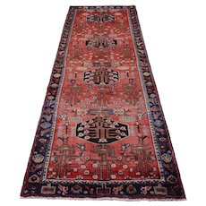 Vintage Persian Hamadan Runner, 4'x9', Red/Blue, All wool pile