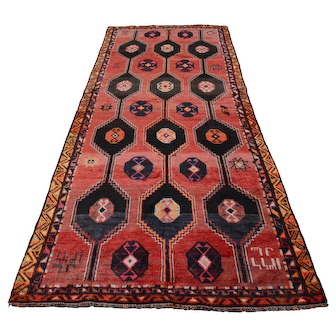 Vintage Persian Shiraz Rug, 5'x10', Red/Blue, All wool pile
