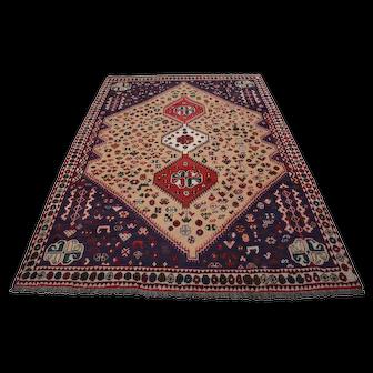 Vintage Persian Shiraz Rug, 7'x9', Beige/Ivory, All wool pile