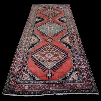 Vintage Persian Hamadan Rug, 5'x10', Red/Blue, All wool pile