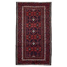 Vintage Persian Balouch Rug, 5'x9', Blue/Red, All wool pile