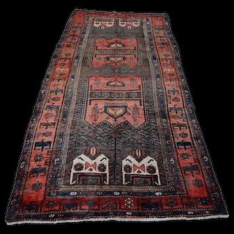 Vintage Persian Koliai Rug, 5'x9', Black/Red, All wool pile