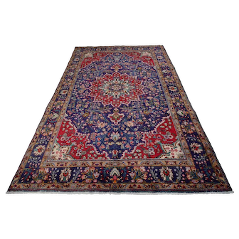 Vintage Persian Tabriz Rug, 7'x10', Blue, All wool pile