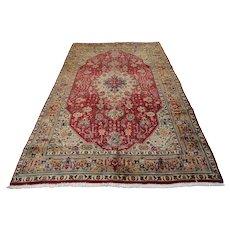 Vintage Persian Tabriz Rug, 7'x10', Red/Brown, All wool pile