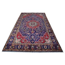 Vintage Persian Tabriz Rug, 7'x10', Blue, All wool pile