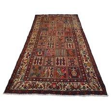 Vintage Persian Bakhtiari Rug, 5'x10', Multi/Ivory, All wool pile