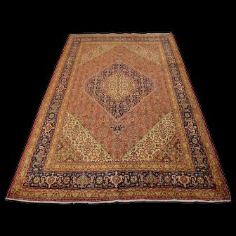 Vintage Persian Tabriz Rug, 7'x10', Rust/Blue, All wool pile