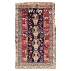 Persian Baluch Rug, 4' x 6', Blue/Ivory, Hand-Knotted Wool Pile