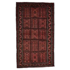 Vintage Persian Baluch Rug, 4'x7', Hand-Knotted