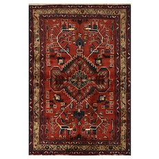 Persian Hamadan Rug, 3' x 5', Red/Brown, Hand-Knotted Wool Pile